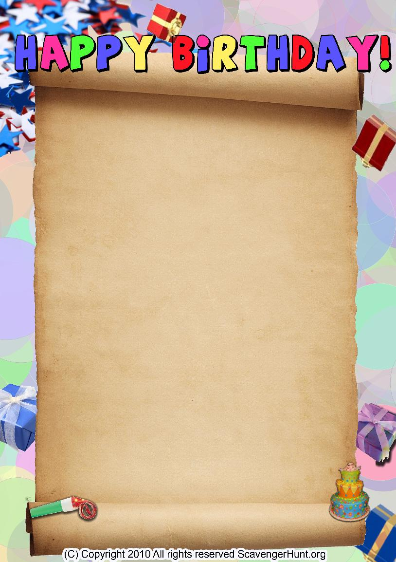 happy-birthday scavenger hunt background