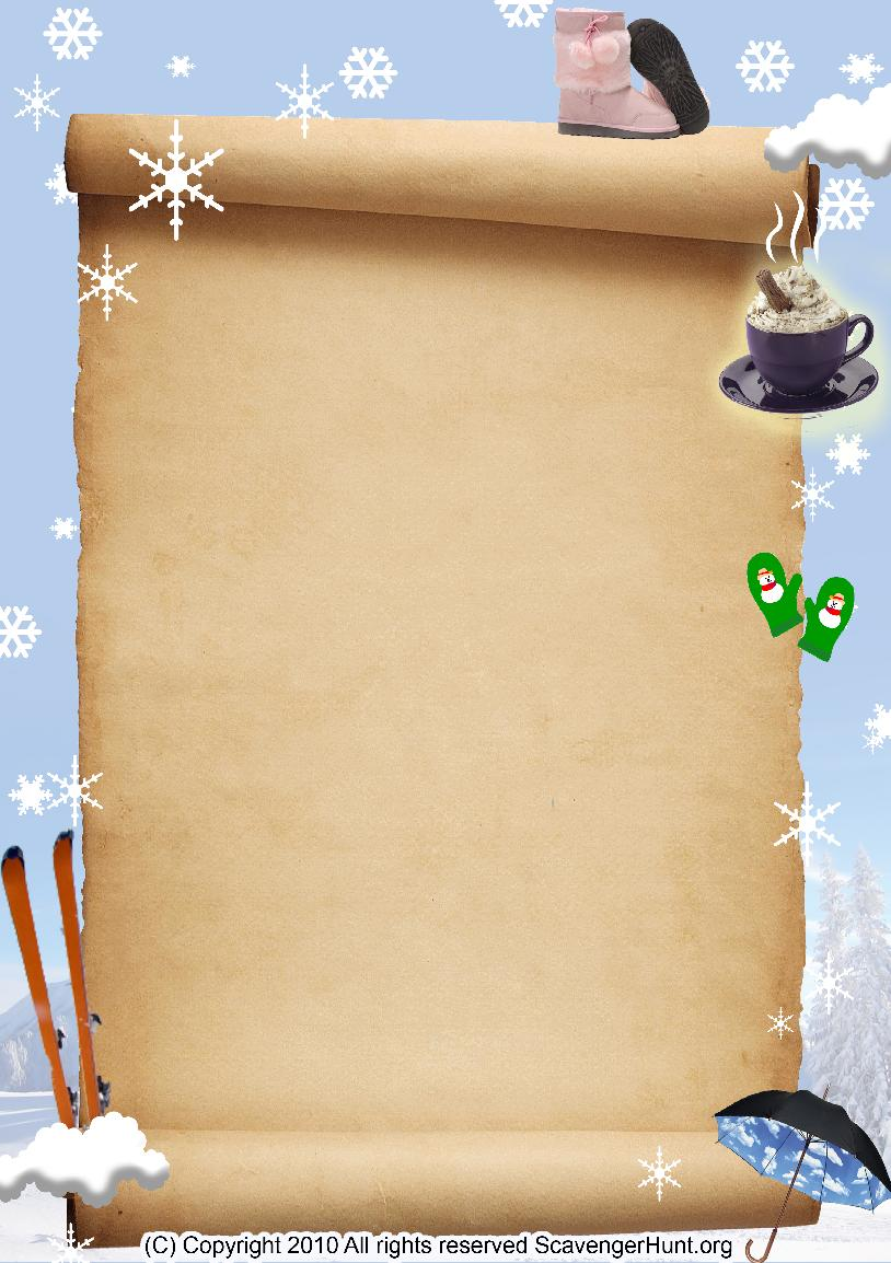 winter scavenger hunt background
